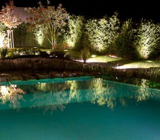 Gartenbeleuchtung Pool und Bäume