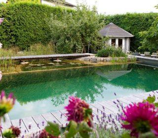 Schwimmteich mit Poolhaus