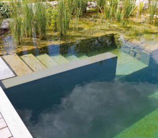Schwimmteich mit modernem Zugang