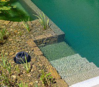 Schwimmteich, Treppe